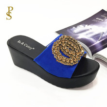 flock shoes for women high heel Wedge heels slippers for ladies PU sole shoes