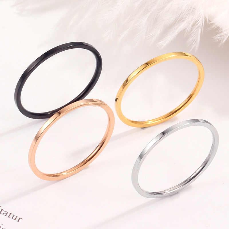 Mae 2019 새로운 실버 골드 1mm 얇은 티타늄 스테인레스 스틸 반지 여성을위한 남자 간단한 스타일 ins 반지 작은 손가락 반지