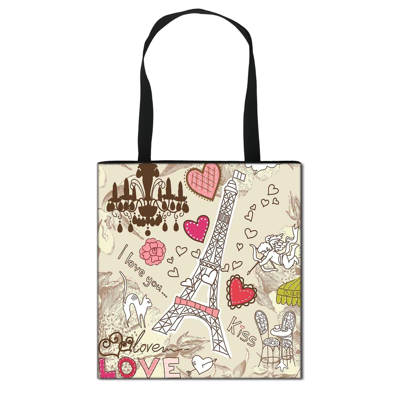 Eiffel Tower Girls Crossbody Bag Women Portable Shopping Travel Bags Large Capacity Storage Bags Book Bags Female