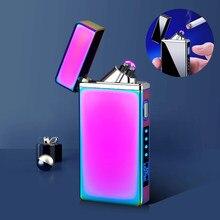 Yeni LED aydınlatma elektrikli çakmak USB şarj edilebilir rüzgar geçirmez çakmaklar güç ekran açık mum çakmak ekran