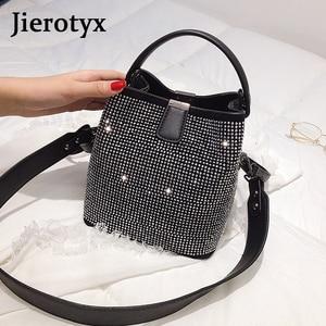 Image 3 - JIEEOTYX Diamanten Frauen Eimer Tasche Berühmte Marke Designer Weibliche Handtaschen Qualität Pu Leder Schulter Taschen Dame Kleine Umhängetasche