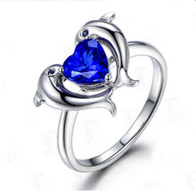 Luxury Creative Blue Crystal Love Dolphin Ring Simple Cute Female Jewelry Send Girlfriend Fashion Jewelry Engagement Ring(China)
