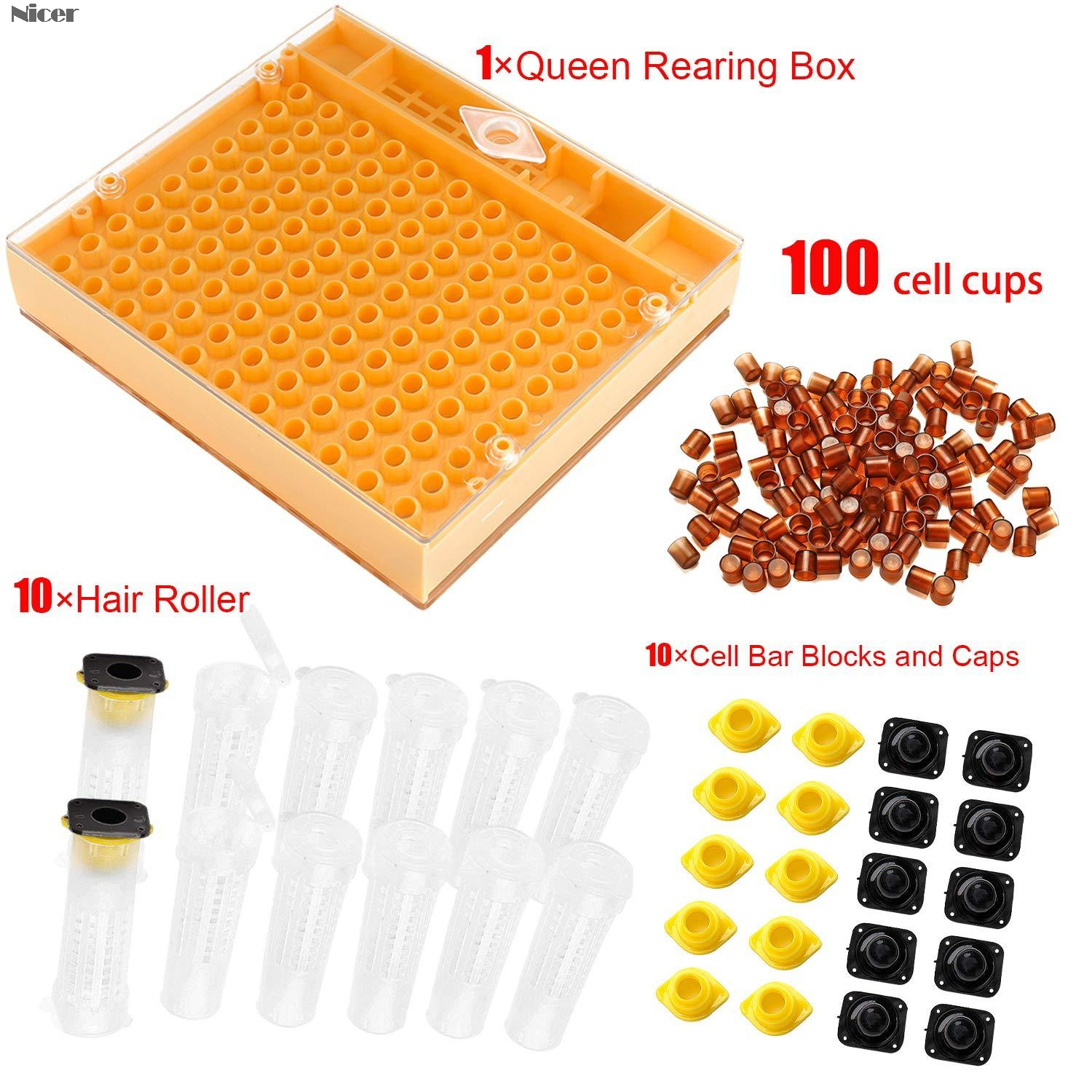 Complete queen rearing cup kit system bee beekeeping catcher box /& 100 cell/'cups