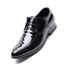 luxury Brand Men Classic Pointed Toe Dress Shoes Black Brigh