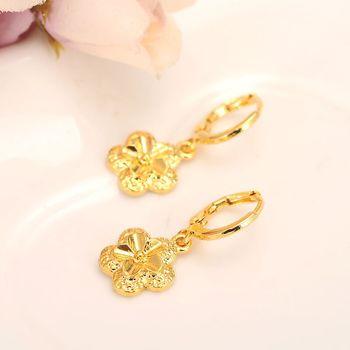 Pendientes de corazones para mujer, joyas de oro fino, amarillo, tailandés, Baht, 14 K