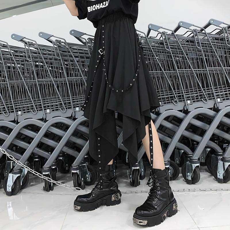 NiceMix Punk Black Ribbon Skirt Women Streetwear Stitching Buckle Irregular Skirt 2019 Loose Casual Fashion High Waist Long Skir