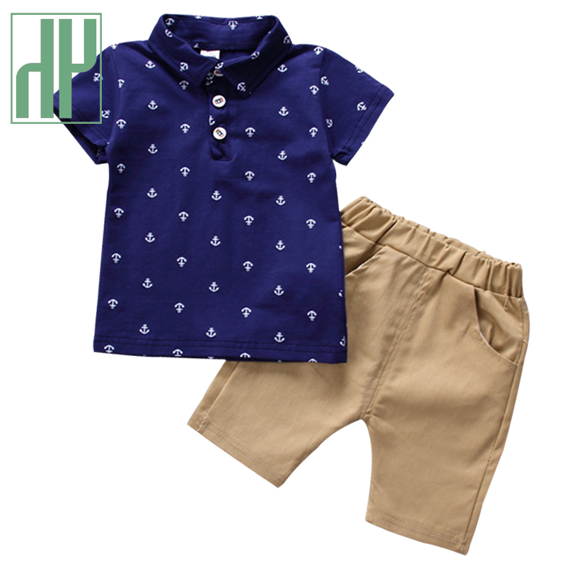 HH Boys Clothing Sets 2021 Summer Baby Boy Gentleman Suit Clothes Kids Cotton Shirts Shorts Sets Boy Toddler Children's Clothing