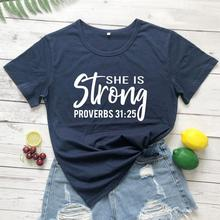 She is Strong Proverbs T-Shirt Casual Funny Stylish 100% Cotton Graphic Tee Hipster Christian Religi