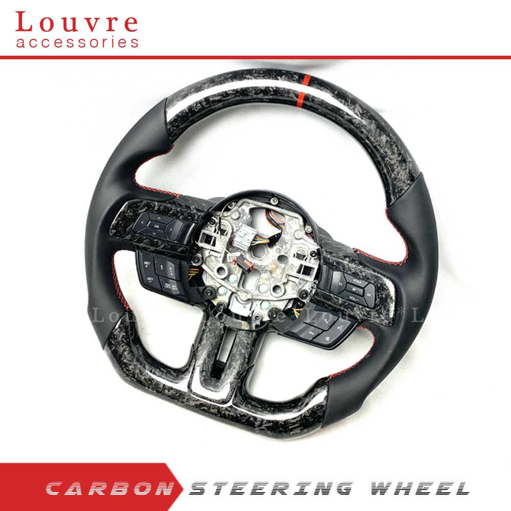Volante de fibra de carbono personalizado para FORD MUSTANG, accesorios de coche, volante