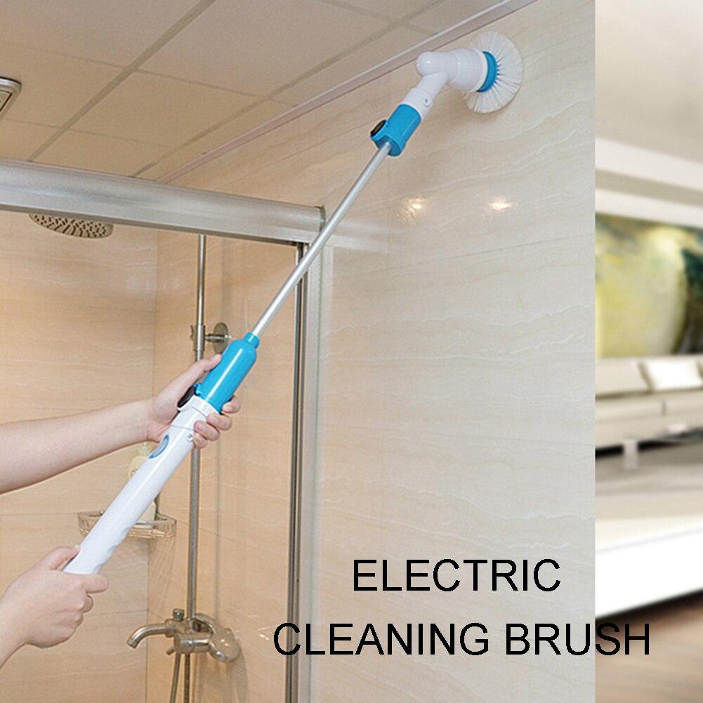 Cepillo de limpieza Turbo eléctrico giratorio limpiador de baño recargable inalámbrico con mango de extensión cepillo adaptable
