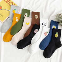5 paare/paket Unisex Lustige Fruit Frauen Socken Harajuku Bunten Mid Socken Frauen 100 Baumwolle Kawaii Größe 35-42