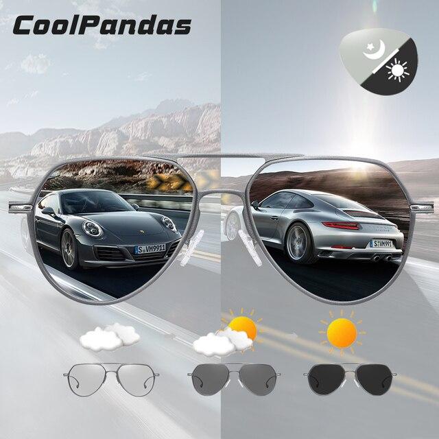 CoolPandas Brand Design Aviation Sunglasses Pilot Men Photochromic Women Driving Glasses Anti Glare UV400 Lens zonnebril heren