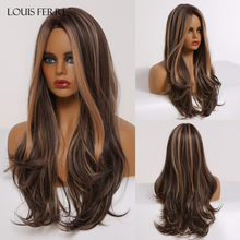 Длинный черный, коричневый, золотистый, медовый волнистый парик LOUIS FERRE с блестками, синтетические парики для косплея, женские термостойкие ...