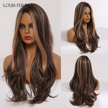 Wavy Wig Highlights Heat-Resistant Louis Ferre Middle-Part Brown Cosplay Black Long Women