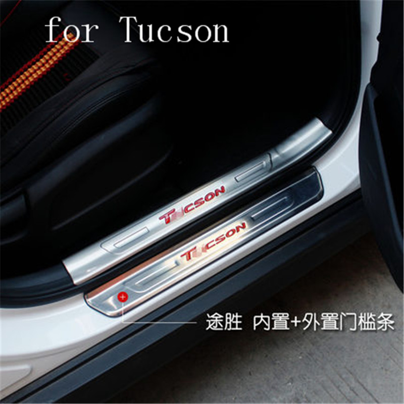 stainless steel door pulls sill auto accessories welcome pedal 4PCS/SET for hyundai Tucson 2015 to 2018 wear plates Car styling image