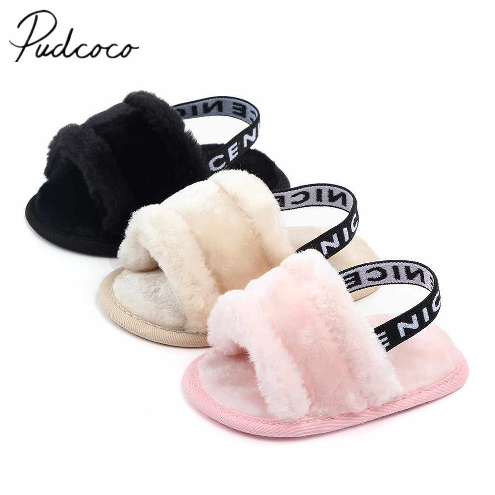 2019 Winter Warm Baby Slipper First Walkers Baby Girls Boys Fuzzy Soft Crib Shoes Letter Elastic Band Solid Crib Pram Prewalker