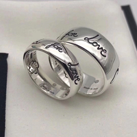 ZEF 925 sterling silver new hot love fearless ring, classic logo charm original jewelry, send girlfriend gift