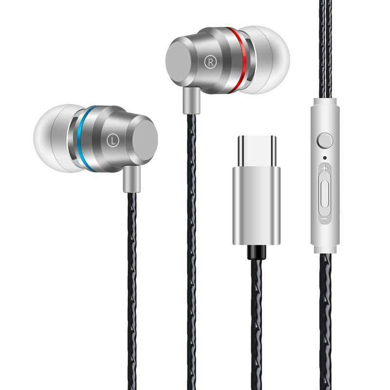 Słuchawki douszne słuchawka do telefonu zestaw słuchawkowy stereo z basami metalowe słuchawki przewodowe słuchawki hi-fi Mic dla Samsung dla Xiaomi