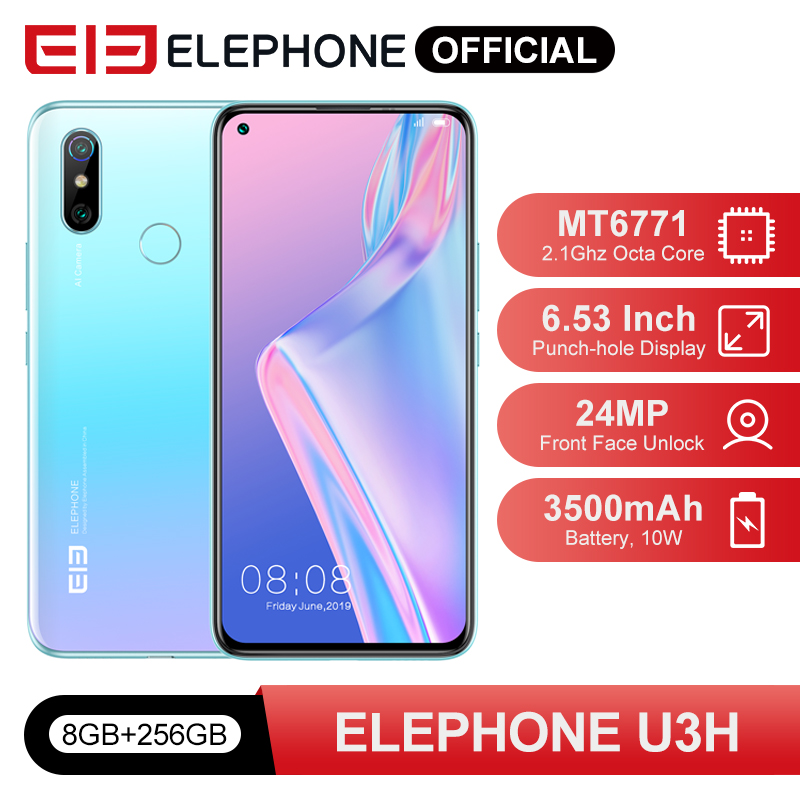 "ELEPHONE U3H Helio P70 Octa Core Smartphone 6.53"" FHD+ 8GB 256GB 24MP Selfie 48MP Dual Camera NFC Android 10 Mobile Phone 1"