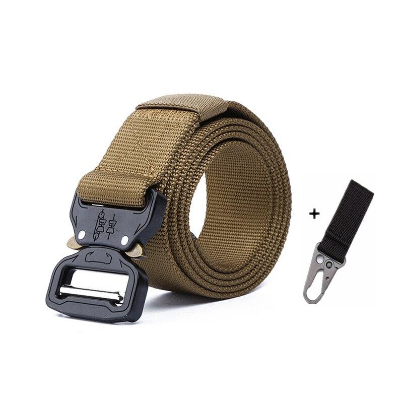 Тактический ремень для спорта на открытом воздухе, нейлоновые поясные ремни с аксессуарами для охоты, армии, тяжелая тренировочная Боевая Мужская Военная - Color: K belt and 1 hook a