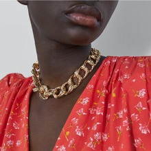 Fashion Necklace Chain Embossed Large Chain Linked Metal Necklace Fashion Personality Necklace women's chains