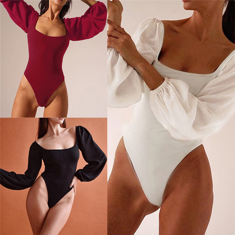 Fahsion Women Sexy Long Puff Sleeve Bandage Bodysuit One-piece Clubwear Backless Lace-up Leotard Square Neck Jumpsuit Rompers