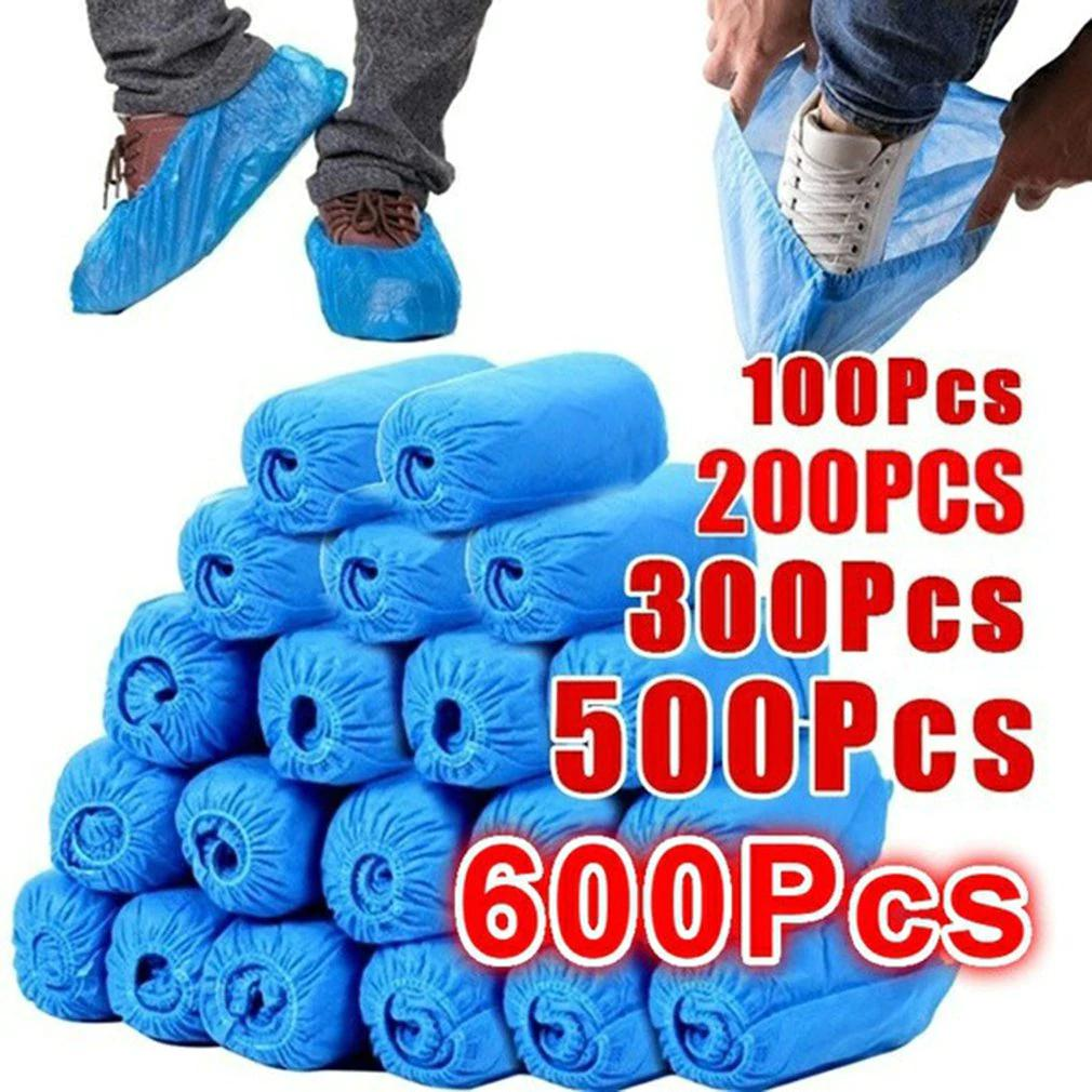 plastic Disposable Shoes Covers with Elastic Band Breathable Dust-proof Thickened Anti-slip Anti-static Shoe Covers