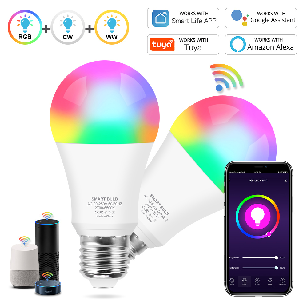 Tuya Smart Light Wifi E27 Led Bulb 12W 15W Color Changing Lamp RGB+White+Warm white APP Voice Control Operate Google Home /Alexa