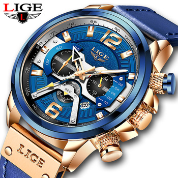2021 LIGE Casual Sports Watch for Men Top Brand Luxury Military Leather Wrist Watches Mens Clocks Fashion Chronograph Wristwatch 1