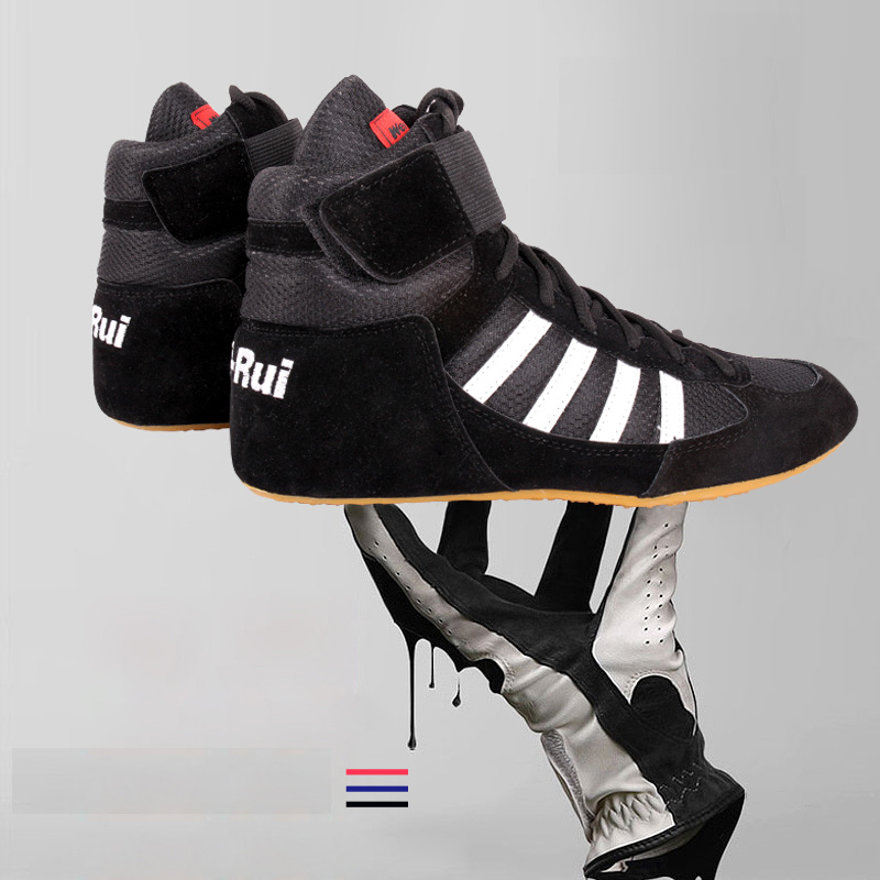 Unisex Authentic Wrestling Shoes For Men Training Shoes Cow Muscle Outsole Lace Up Boots Sneakers Professional Boxing Shoes