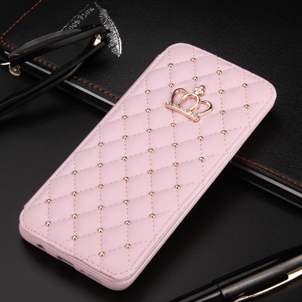 Crown Glitter For Samsung Galaxy S20 S10 S8 S9 Plus S7 Edge S20 Ultra Case Leather Wallet Queen Case Flip Cover Mobile Phone Bag
