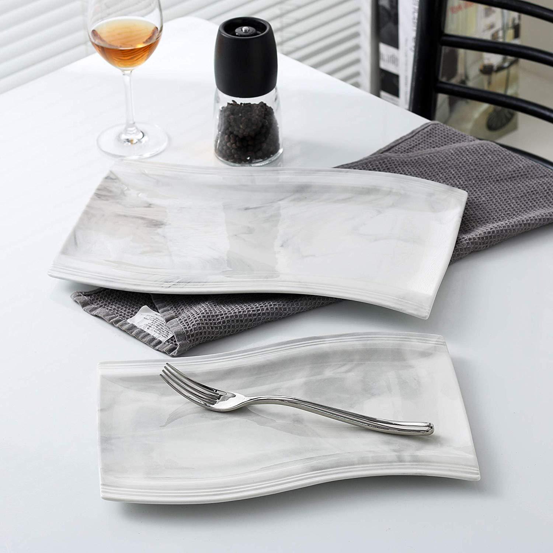MALACASA Flora 2 pièces marbre porcelaine dîner assiette ensemble avec 1*11