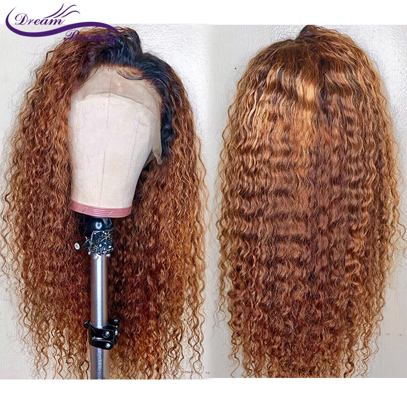Ombre Blonde Lace Front Wig Brazilian Kinky Curly Hair Ombre Human Hair Colored Remy Wigs Preplucked Lace Front Human Hair Wigs