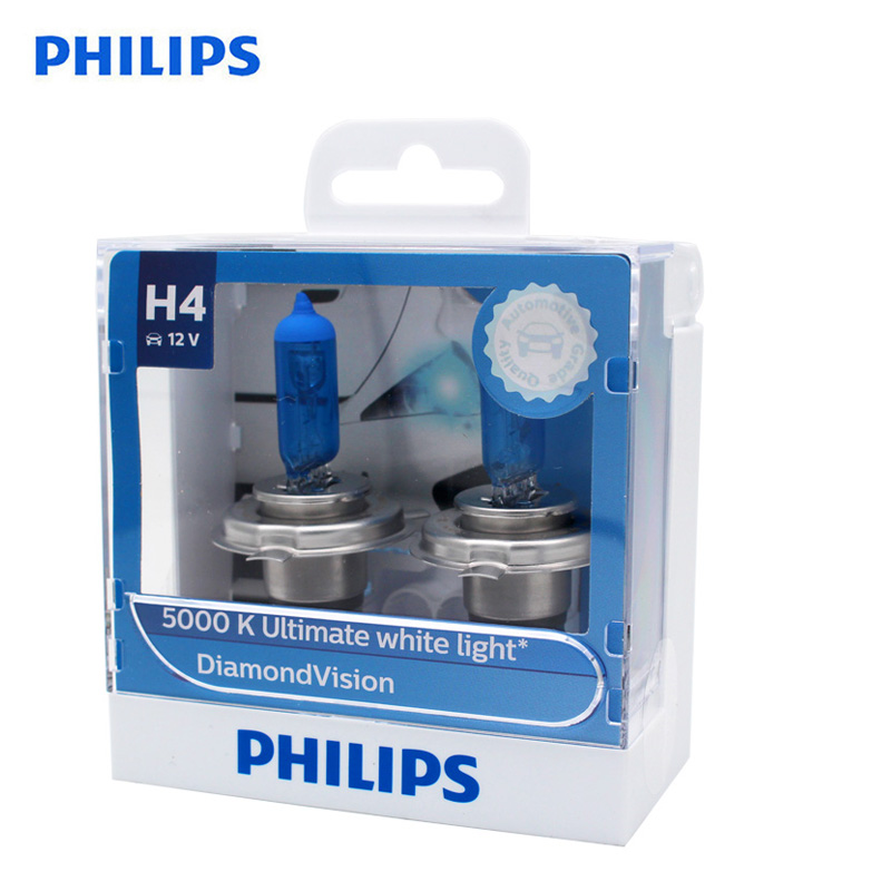 Philips Original H4 HB2 9003 12V Diamond Vision 5000K Xenon White Car Halogen Headlight Auto Hi/lo Beam Bulbs 12342DVS2, Pair