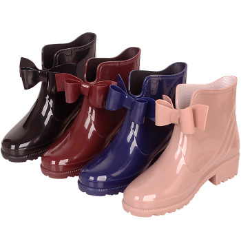 New Rubber Boots for Women PVC Ankle Rain Boots Waterproof Trendy Jelly Women Boot Elastic Band Rainy Shoes Woman 896