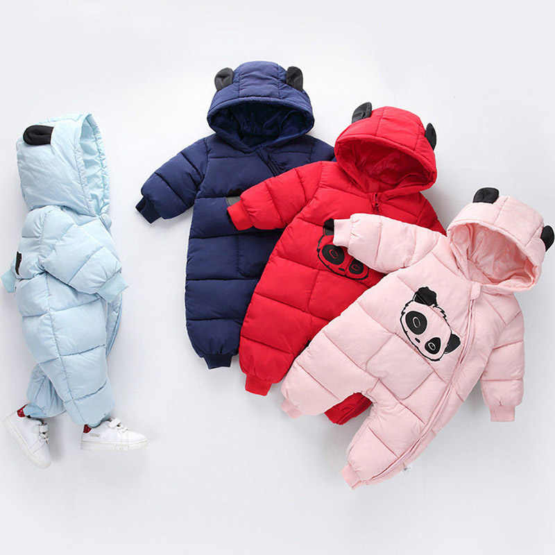 2019 Winter Newborn Baby Clothes Jumpsuit Warm Cotton Boys Snowsuit For Girls Hooded Overalls For Children Unisex Baby Romper