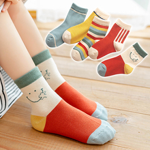 5Pairs/lot Cute Smiley Baby Girls Socks spring Soft Kawaii Infant Toddler Socks Cotton Baby kids rainbow striped Socks for 1-12Y
