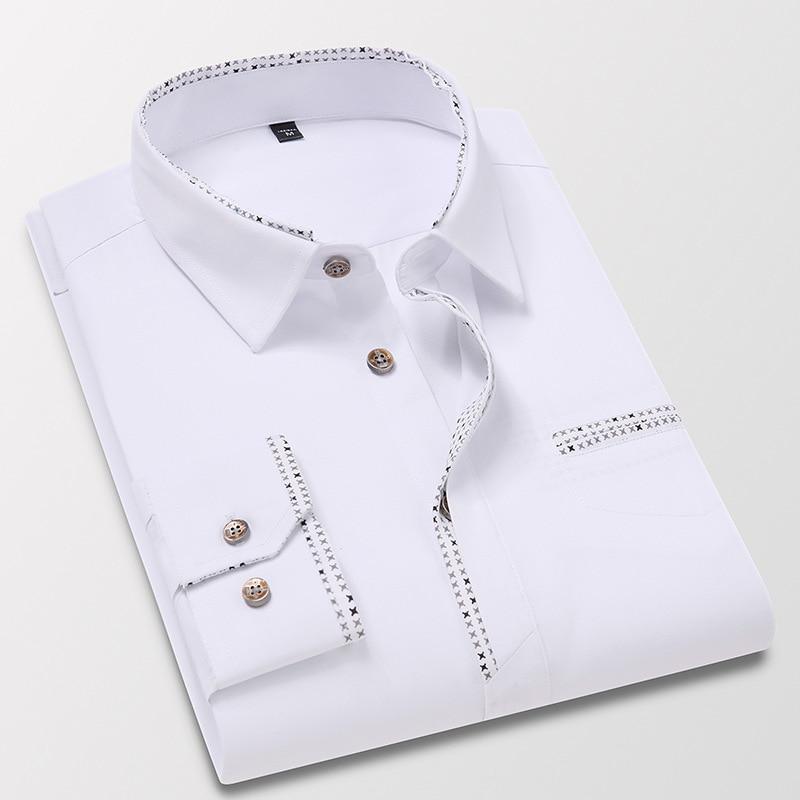 Autumn Men's Long Sleeve Shirts Business Formal Shirts Floral Large Size Top Korean Version Slim Youth Trend Dress Shirts M-5XL