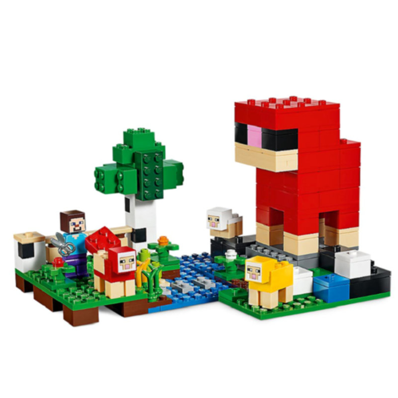 The Wool Farm Building Blocks With Steve Action Figures Compatible LegoINGlys MinecraftINGlys Sets Toys 21153 2