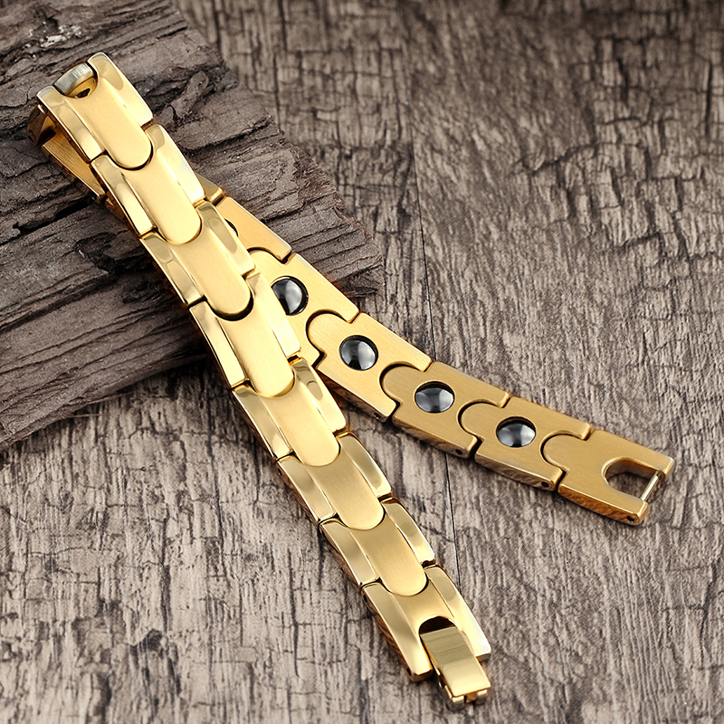 Image 4 - classic Magnetic Hematite Copper Bracelet Men Health Bracelets with Hook Buckle Clasp Therapy Bangles Women Health Care JewelryHologram Bracelets   -