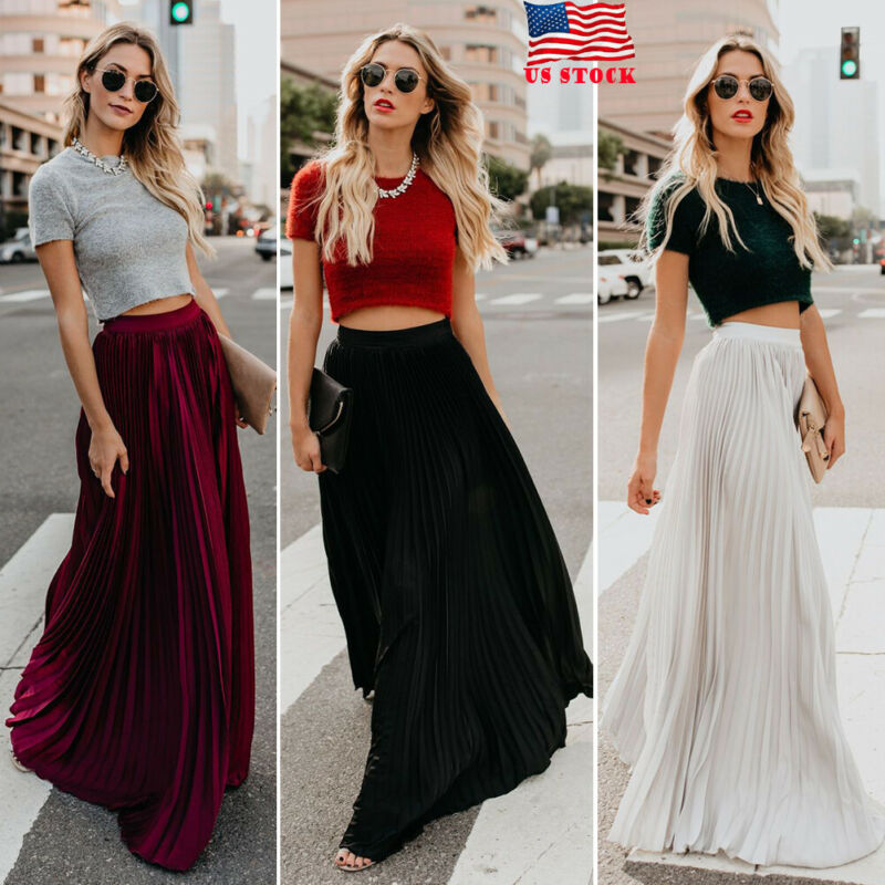 Hirigin Women Pleated Velet Long Skirt Elastic High Waist Casual Solid Fashion Maxi A-line Swing Skirts Summer Autumn Clothes