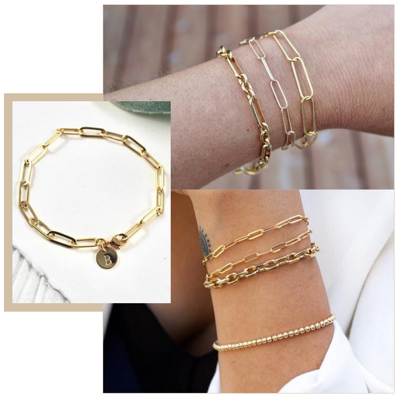 Dainty Paperclip Rechteck Kette Frauen Armbänder, Gold Farbe Oval Kette Personalisierte Tiny Disc Armband, Brautjungfer Custom Geschenk