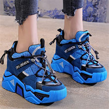 Trainers Women Fashion Leather Sneakers Breathable Plaform Wedge Tennis Shoes High Heel Ankle Boots Creepers Travel