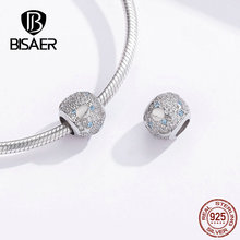 BISAER Dazzling Blue Crystal Charms Beads Mysterious Universe Beads Fit Pan Bracelet 925 Sterling Silver Charms Jewelry HSC1217 dropshipping 2020 new fashion silver beads bracelet blue flower floral crystal charms bracelet