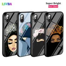 Black Cover Gril Eyes Arabic Hijab for iPhone X XR XS Max for iPhone 8 7 6 6S Plus 5S 5 SE Super Bright Glossy Phone Case black cover japanese samurai for iphone x xr xs max for iphone 8 7 6 6s plus 5s 5 se super bright glossy phone case