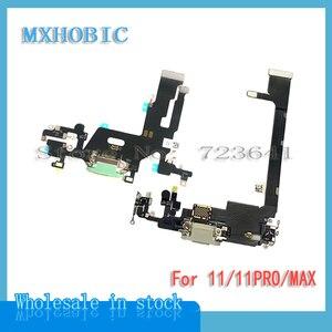 Image 1 - 2Pcs Opladen Flex Voor Iphone 11 Pro Max Usb Lader Poort Dock Connector Plug Met Mic Flex Kabel Lint vervanging