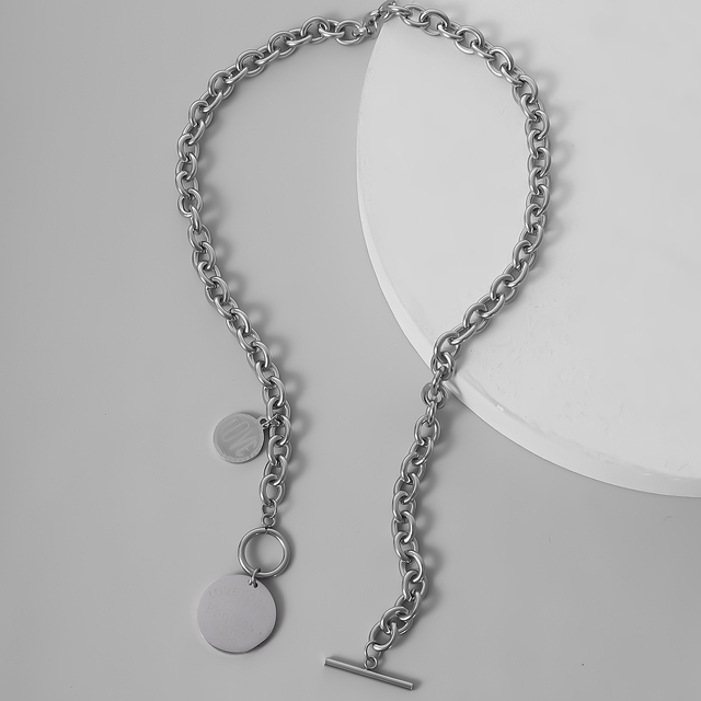Vintage Cuban Coin Pendant Choker Necklace Steampunk Men Hiphop Stainless Steel Silver Color Lariat Necklace for Women Jewelry
