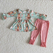 Children Outfit Easter-Sets Bunny Ruffle Toddler Rabbit Wholesale Kids Shirt Pants Long-Sleeves