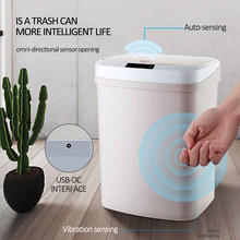 15L Rechargeable Home Intelligent Automatic Induction Electric Rubbish Trash Can Smart Waste Bins Ashbin Kick Barrel Trash Can