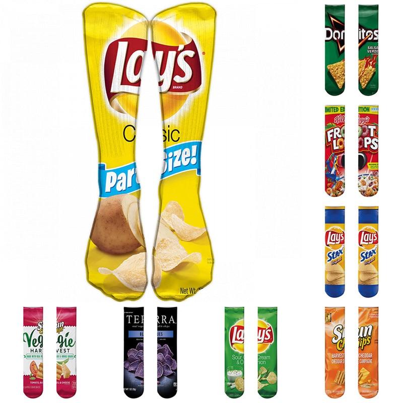 1 Pair Funny Unisex Men Art Socks Women Printing Potato Chips Knee High Socks Cotton Art Long Socks For Men 8S-D15